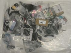 Bag containing quantity of various mobile phone accessories; cables, adapters, mounts, spare screen,