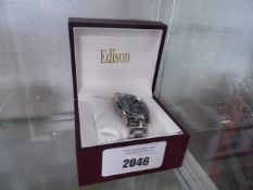 Edison moon phase movement stainless steel strap wrist watch