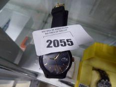 Black rubberized strap black dial Lacoste wrist watch