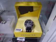 Invicta oversized wrist watch with rubberized strap and box