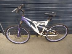 White and purple Dunlop suspension mountain bike