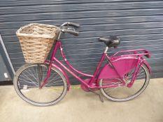 Cerise ladies bike with basket
