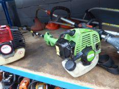 Green handy petrol powered long reach pole saw
