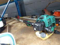 Green petrol powered long reach hedge cutter