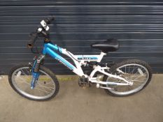 Small blue and white childs bike