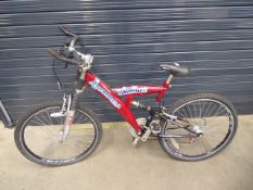 Red suspension mountain bike