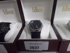 Edison gents automatic octagon bezel silver coloured watch