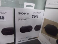 Boxed pair of Sony WF-1000XM3 bluetooth wireless noise cancelling earbuds with charging case,