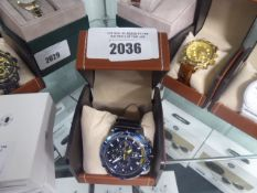 LA Banus mens chronograph GT watch with blue bezel and box