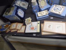 Frederick Warne & Co limited series of Beatrix Potter miniature prints in frames together with other