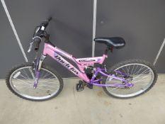 Girls mountain bike in pink