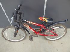 Small Raleigh childs bike in red with flames