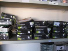 Shelf containing Luceco LED floodlights with PIR