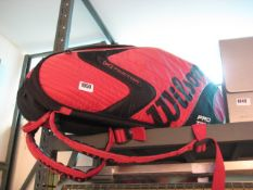 Wilson Pro Tour K Factor carry bag with contents of 4 squash racquets