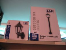 LAP outdoor LED post light with another LAP wall light