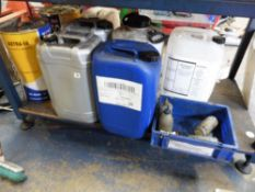 Quantity of various part tubs of lubricant, de-ionised water, cutting fluid etc