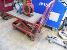 Red platform Scissor lift trolley with treadle