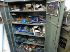 Grey Steel double door cabinet and contents of assorted drills, tooling and consumables