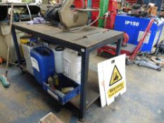 Welded Steel workbench with inset rollers, 1.5m x 0.75m approx (excluding contents)