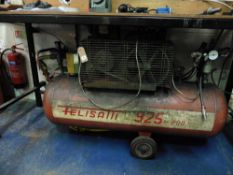 Felisatti model 925/200 3 phase reciever mounted air compressor on wheels with associated airline