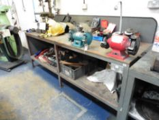 8' wide metal and wood work bench with 2 single phase double ended bench grinders and electrical