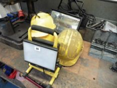 Rechargeable Work light, 240 volt flood light, Safety helmets and glasses
