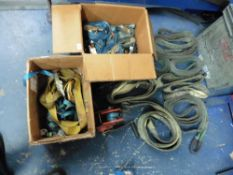 Quantity of lifting slings, straps and a winch