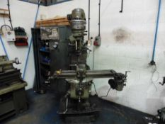 Bridgeport Turret Milling Machine with Sinc Model SDS 2MS 2 axis DRO, Powered table size 9'' x
