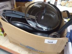 Box containing mixed used pots and pans