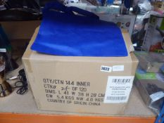 Box containing a quantity of blue tote bags