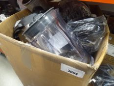 Large box of mixed kitchen equipment including blenders, pressure cookers etc