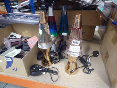 4 unboxed lava lamps