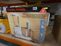 Boxed Morphy Richards food processor with blender etc.