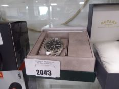 Rotary stainless steel black faced dial wrist watch with box