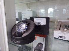 Citizen gents rubberized strap black faced dial wrist watch with box