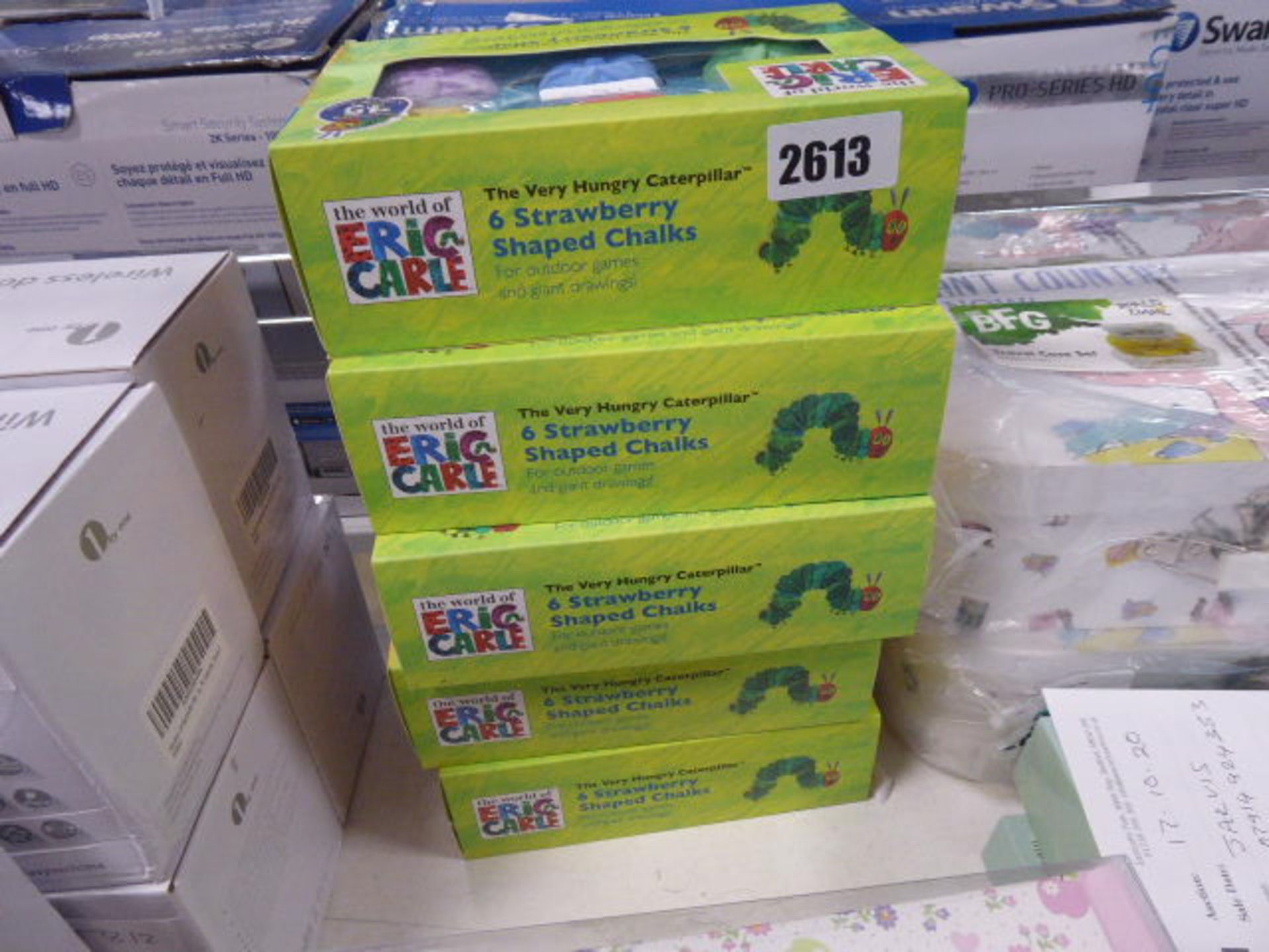 Lot 2613 - 5 Boxed sets of 6 Hungry Caterpillar Strawberry chalks