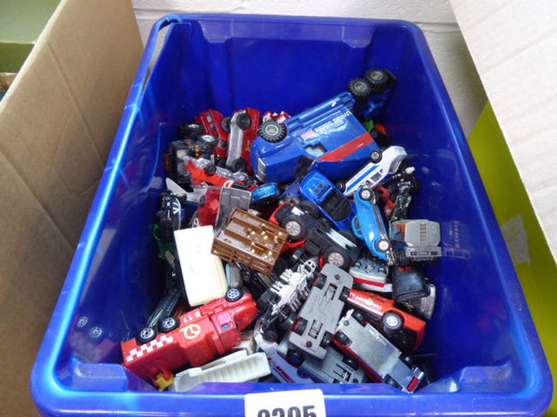 Lot 2395 - Blue crate containing various playworn die cast vehicles
