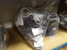 Bag containing large quantity of IT accessories inc. DVD rewriter, USB kit, HDMI switches, power