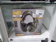 Rig Plantronics forest camo gaming headset in box