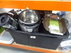 Large box containing mixed kitchen items inc. instant pots, mixers etc