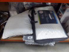 Bliss cool touch pillow, cushion and 2 bath mats