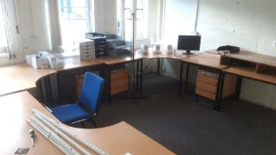 Suite of office furniture to include a miscellaneous collection of 13 tables, 12 pedestals, 10