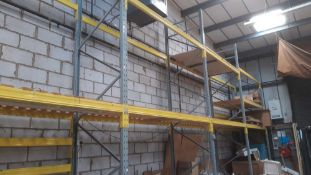 4 running bays of bolt less pallet racking to include; Five 6m uprights and Thirty 2.7m cross