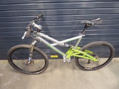 Marin silver and green suspension mountain bike