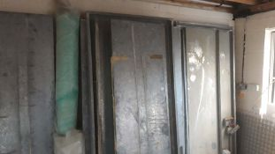 Spray Booth with galvanised steel interlocking panels and 2 rolls of filters, measuring 2.5m x 1m (