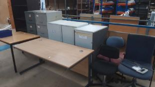 3 metal filing cabinets, 2 door cabinet, open front cabinet, 2 tables and 4 chairs (This lot is