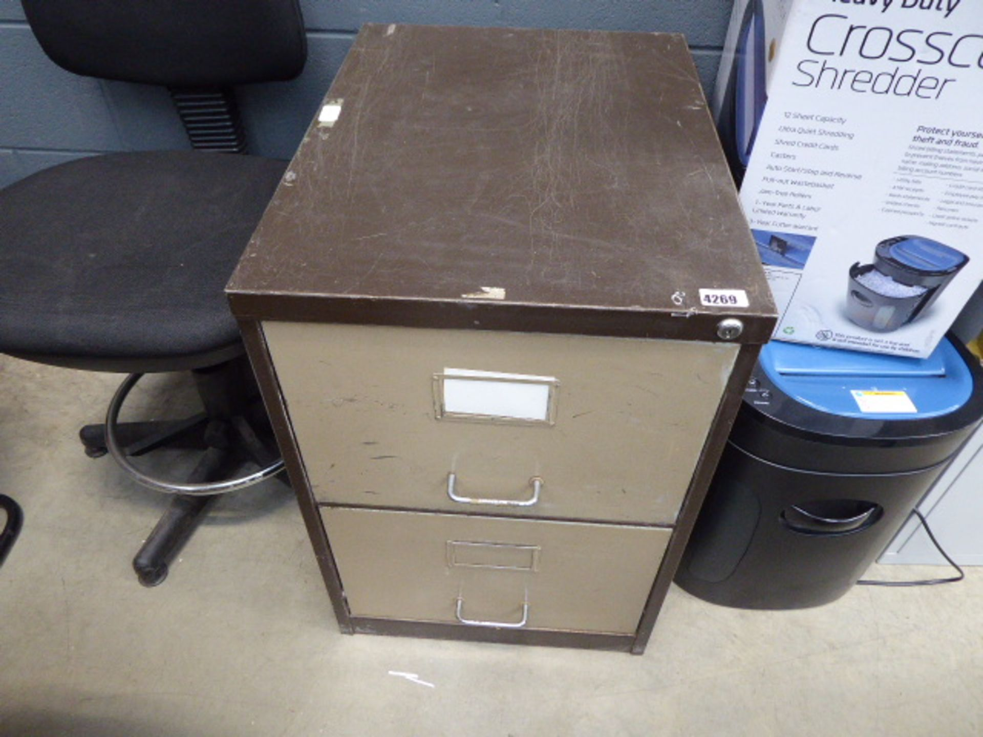 Lot 4269 - 4273 Coffee and cream 2 drawer metal filing cabinet