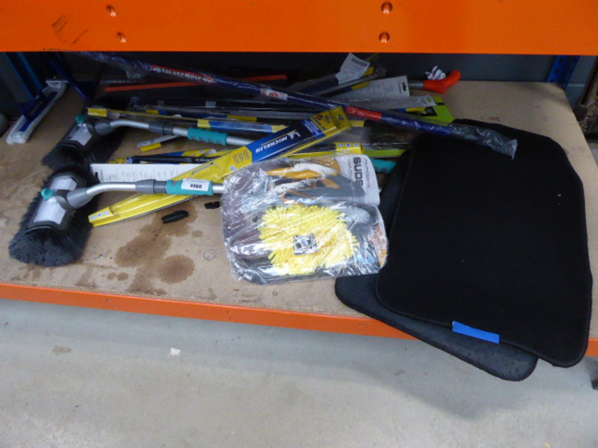 Lot 4466 - 4567 Underbay containing wash brushes, car mats, wiper blades etc