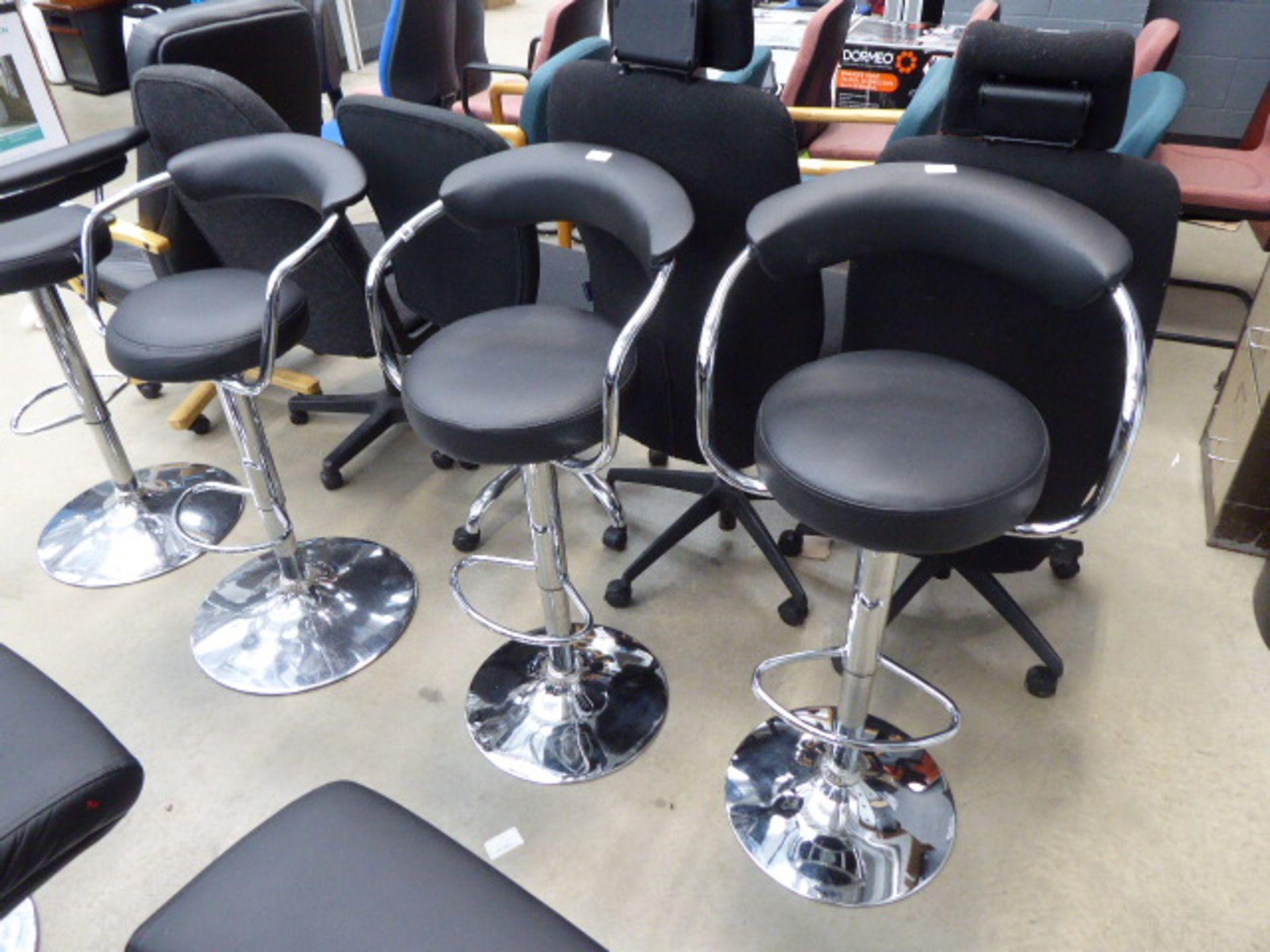 Lot 4248 - 2 black chrome based bar stools