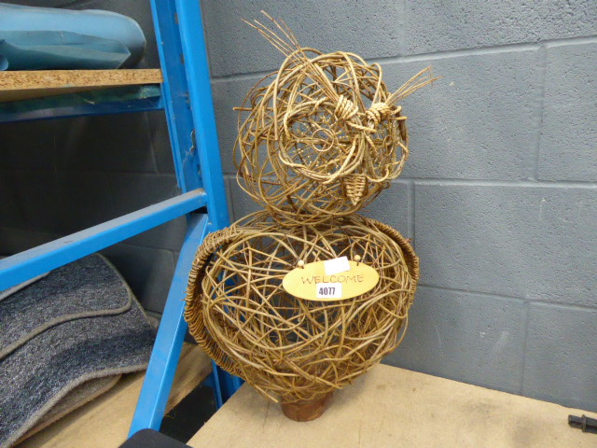 Lot 4077 - Wooden twig effect owl
